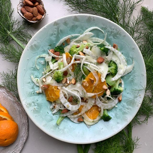 Fennel, Orange, Broccoli and AlmondSalad