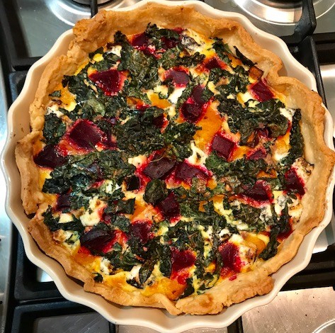 Roast Pumpkin, Beetroot, Kale and Goats Cheese Quiche