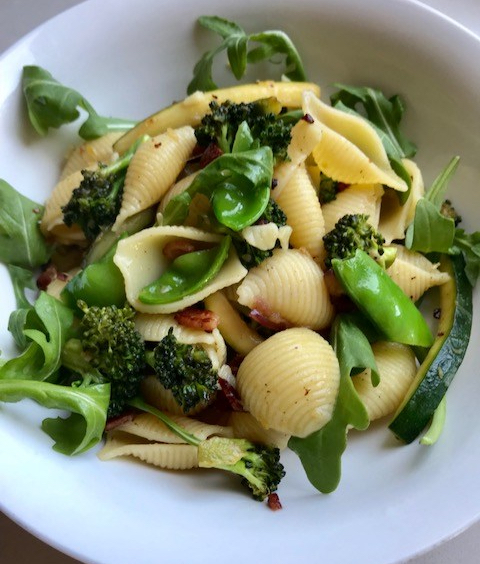 Bacon and Spring Vegetable Pasta