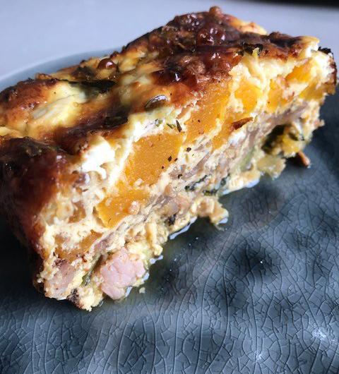 Pumpkin, Caramelised Onion and FetaFrittata