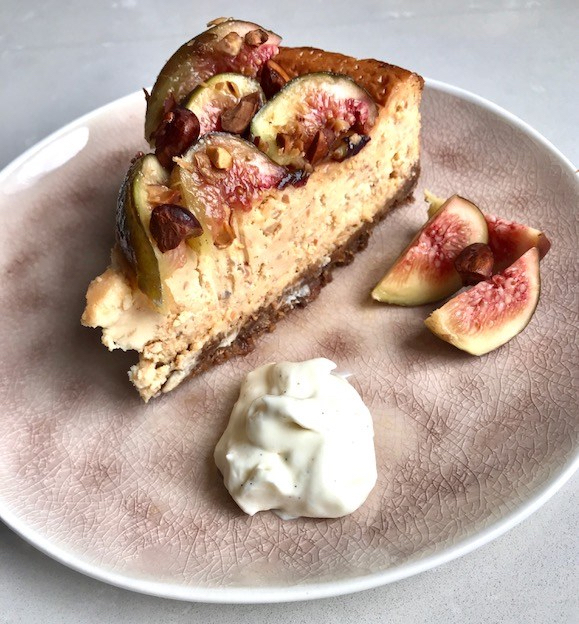 Fig and Almond Praline Cheesecake