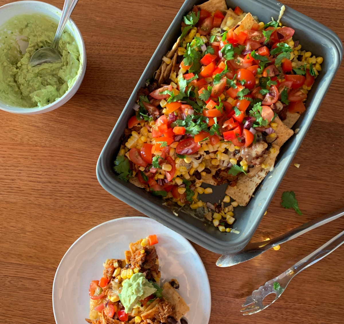 Pulled Chicken Nachos with Black Beans andGuacamole