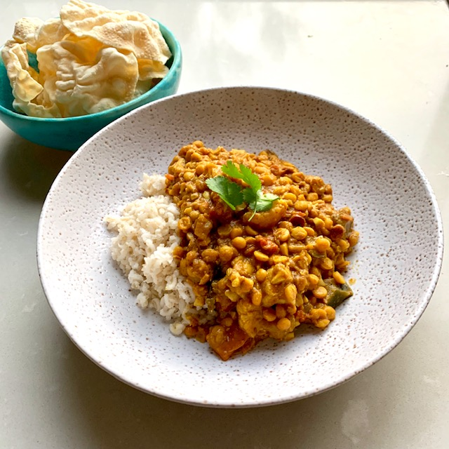 Dhal with Cauliflower and Eggplant